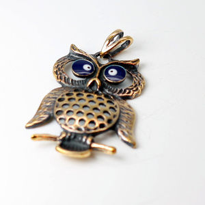 Jewelry - Hand made Aged copper necklace Owl